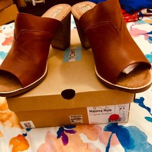 NIB Toms Mules In cognac leather 7.5